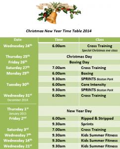 xmas timetable
