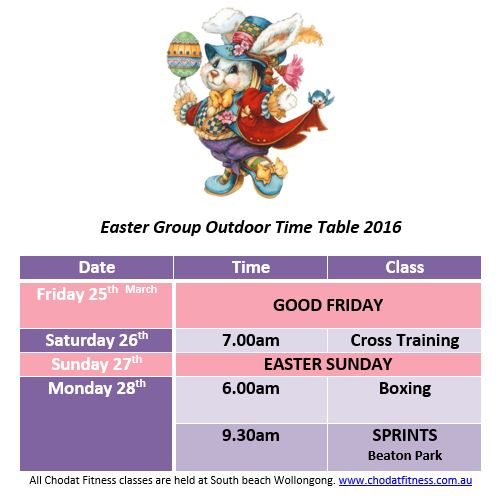 Easter timetable