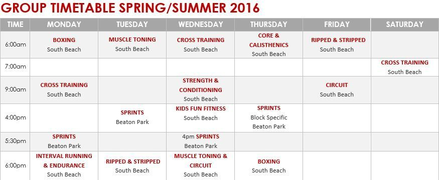 NEW Spring & Summer Timetable 2016